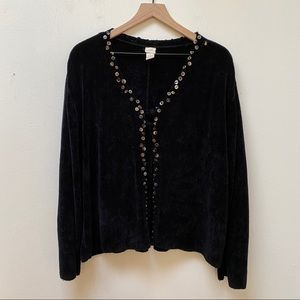 J. Jill Black Beaded Trim Velvet Cardigan